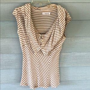 Pilcro tan white striped top size small